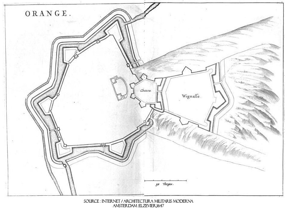 Plan du château d'Orange et fortifications de la ville vus de dessus. 17e siècle